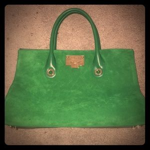 Jimmy Choo Green Suede Riley Bag